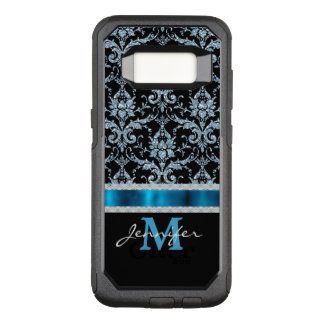 Ice Blue Damask Monogram OtterBox Commuter Samsung Galaxy S8 Case