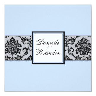 Ice Blue Damask Monogram Wedding Invitation
