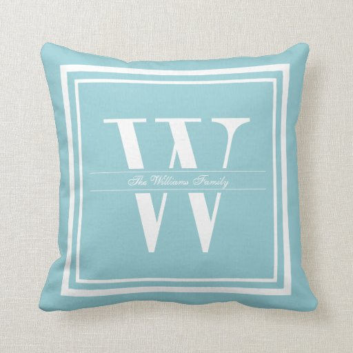 Ice Blue Throw Pillows : Ice Blue Double Border Monogram Throw Pillow Zazzle