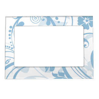 Ice Blue Floral Swirls Mother's Day Picture Frame Magnets