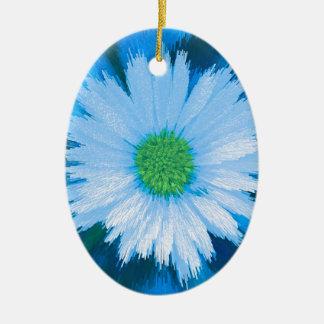 Ice Blue Flower Ceramic Ornament