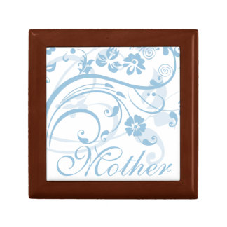 Ice Blue Flowers Swirls Mother's Day Jewelry Box