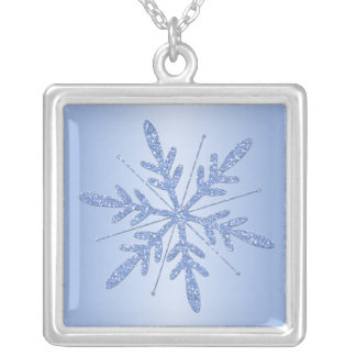 Ice Blue Glittery Snowflake Necklace