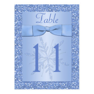 Ice Blue Glittery Snowflakes Table Number Card