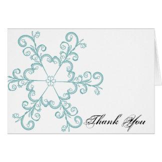 Ice Blue Heart Snowflake Wedding Thank You card