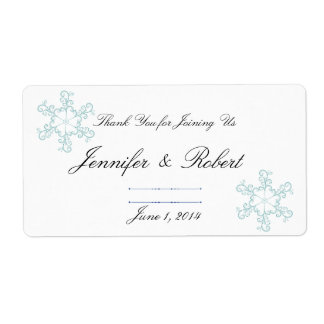 Ice Blue Heart Snowflake Wedding Water Label