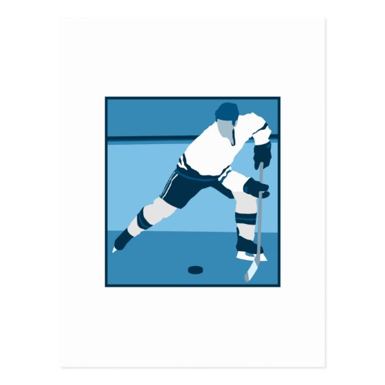 Ice Blue Hockey Logo Postcard