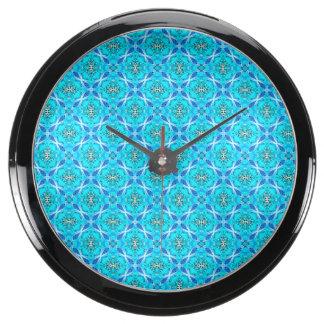 Ice Blue Infinity Signs Abstract Aqua Cyan Flowers Aquarium Clock