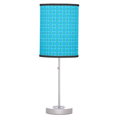Ice Blue Infinity Signs Abstract Aqua Cyan Flowers Desk Lamp