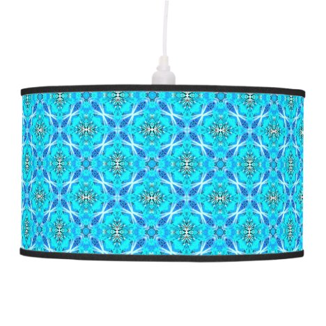Ice Blue Infinity Signs Abstract Aqua Cyan Flowers Hanging Lamp