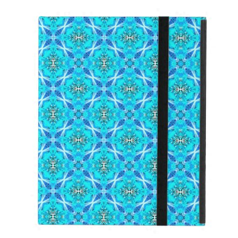 Ice Blue Infinity Signs Abstract Aqua Cyan Flowers iPad Folio Case