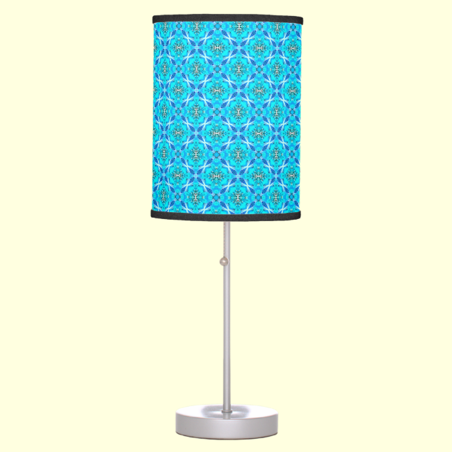 Ice Blue Infinity Signs Abstract Aqua Cyan Flowers Table Lamp