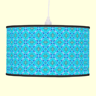 Ice Blue Infinity Signs Abstract Aqua Cyan Flowers Hanging Lamps