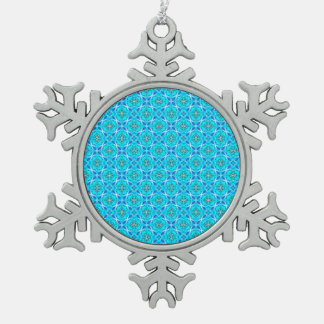 Ice Blue Infinity Signs Abstract Aqua Cyan Flowers Snowflake Pewter Christmas Ornament