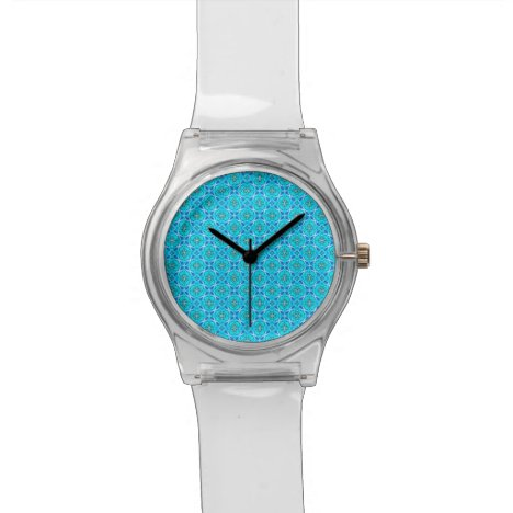 Ice Blue Infinity Signs Abstract Aqua Cyan Flowers Wristwatch