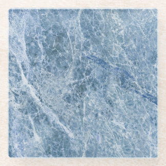 Ice Blue Marble Texture Glass Coaster