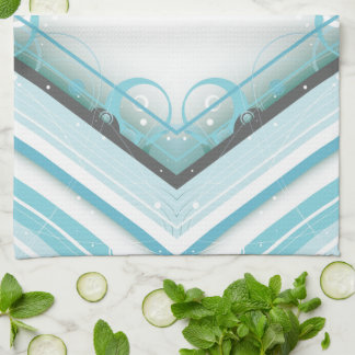 Ice Blue Modern-Retro Stripe Diamond with Monogram Towel