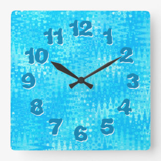 Ice Blue Organic Pattern Wobbly Numbers Square Wall Clock