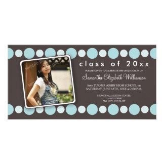 Ice Blue Polkadots Custom Graduation Announcement Photo Card