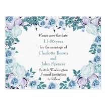 Ice Blue Purple Vintage Roses Wedding Postcard