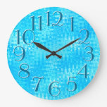 Ice Blue Ripples Pattern Elegant Oversize Numbers Large Clock