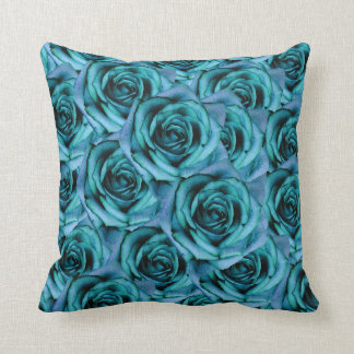 Ice Blue Throw Pillows : Ice Blue Roses Pillow