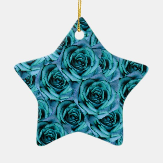 Ice Blue Roses Star Ornament