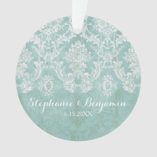 Ice Blue Rustic Damask Pattern Wedding Ornament