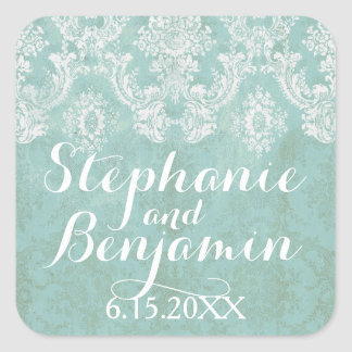 Ice Blue Rustic Damask Pattern Wedding Square Sticker