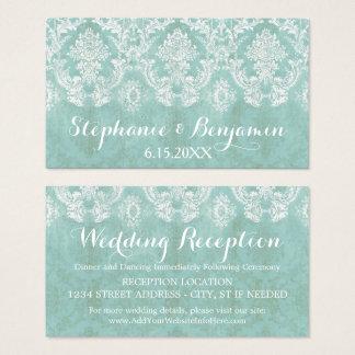 Ice Blue Rustic Damask Wedding Enclosure Card