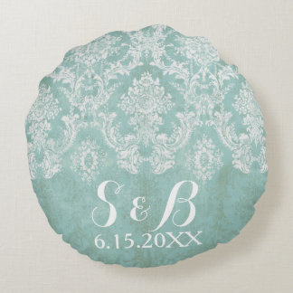Ice Blue Rustic Damask Wedding Save the Date Round Pillow