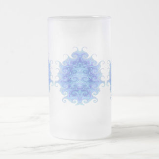 ICE BLUE SCARAB FROSTED GLASS MUG