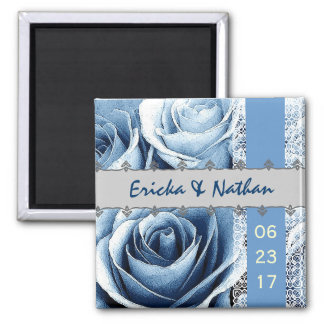 Ice Blue & Silver  Wedding Rose Bouquet with Lace Magnet