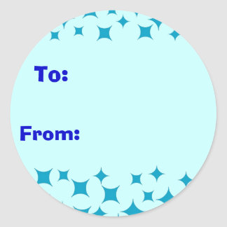 Ice Blue Snow / Stars sticker. To, From label