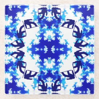 Ice Blue Snowboarder Sky Tile Snowboarding Sport Glass Coaster