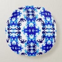 Ice Blue Snowboarder Sky Tile Snowboarding Sport Round Pillow