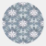 Ice Blue Snowflake Classic Round Sticker