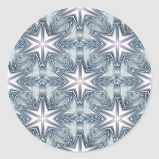 Ice Blue Snowflake Classic Round Sticker