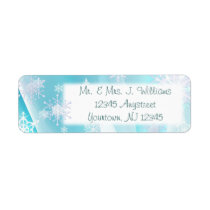 Ice Blue Snowflake Return Address Label