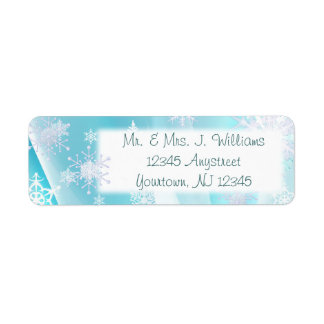 Ice Blue Snowflake Return Address Label
