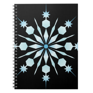 Ice Blue Snowflake Spiral Notebook