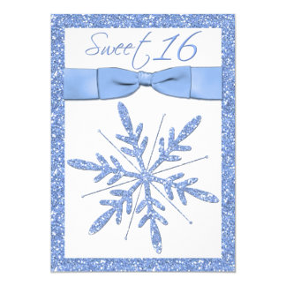 Ice Blue Snowflake Sweet 16 Invitation