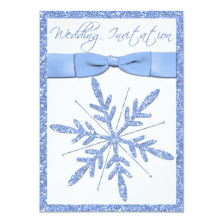 Ice Blue Snowflake Wedding Invitation