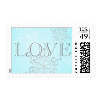 Ice Blue Snowflake Winter Love Postage