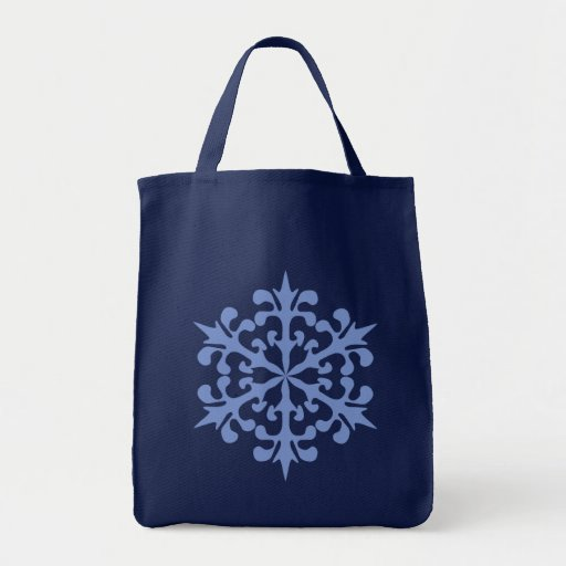 Ice Blue Snowflake Winter Snow Tote Bags