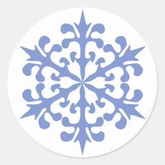 Ice Blue Snowflake Winter Snow Classic Round Sticker