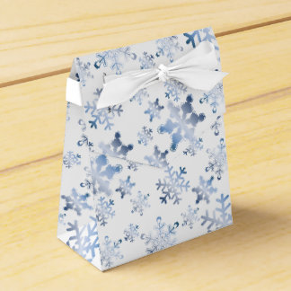 Ice Blue Snowflakes on White Ribbon Favor Box