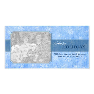 Ice Blue Snowflakes Photo Card Template