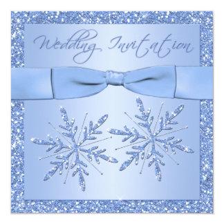Ice Blue Snowflakes Square Wedding Invitation
