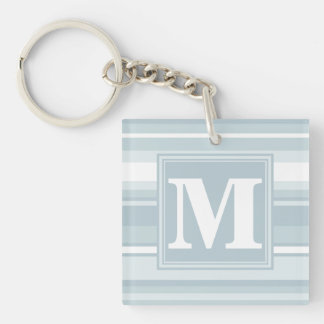 Ice blue stripes Double-Sided square acrylic keychain